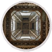 Eiffel Tower Abstract Round Beach Towel