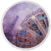 Round Beach Towel featuring the photograph Eiffel Tower And Carousel by Clare Bambers