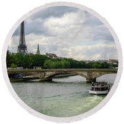 Eiffel Tower And The River Seine Round Beach Towel
