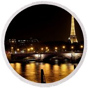 Round Beach Towel featuring the photograph Eiffel Tower At Night 1 by Andrew Fare