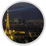 Eiffel Tower At Night Round Beach Towel by Sebastian Musial