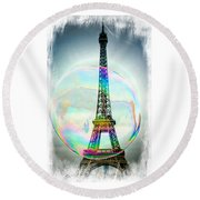 Eiffel Tower Bubble Round Beach Towel by Lilliana Mendez