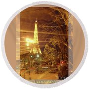 Eiffel Tower By Bus Tour Greeting Card Poster Round Beach Towel