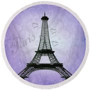 Eiffel Tower Collage Purple Round Beach Towel by Jim And Emily Bush