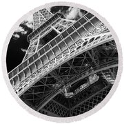 Eiffel Tower Infrared Abstract Round Beach Towel