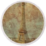 Paris, France - Eiffel Tower Round Beach Towel