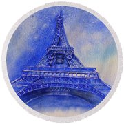 Round Beach Towel featuring the painting Eiffel Tower Nights by Kelly Mills