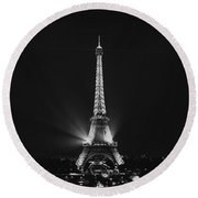 Eiffel Tower Noir Round Beach Towel by Melanie Alexandra Price