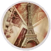 Eiffel Tower Old Romantic Stories In Ancient Paris Round Beach Towel