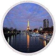Eiffel Tower Over The Seine Round Beach Towel