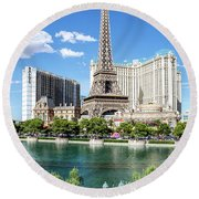 Eiffel Tower Paris Casino In Front Of The Bellagio Fountains Round Beach Towel