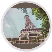 Eiffel Tower, Paris, France Round Beach Towel