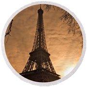 Eiffel Tower Sunset Round Beach Towel