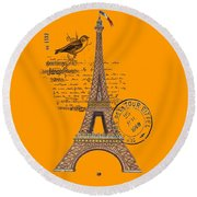Eiffel Tower T Shirt Design Round Beach Towel