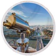 Eiffel Tower Telescope 2 Round Beach Towel