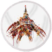 Eiffel Tower Watercolor Round Beach Towel
