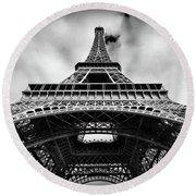 Eiffelt Tower From Below - Paris Round Beach Towel
