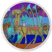 Round Beach Towel featuring the painting Eight Holy Cows by Denise Weaver Ross