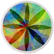 Round Beach Towel featuring the painting Eight Petals by Michelle Calkins