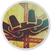 Eighties Street Skateboarders Round Beach Towel