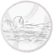 Eilean Donan Castle Digital Art Round Beach Towel