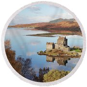 Eilean Donan Castle Panorama In Autumn Round Beach Towel