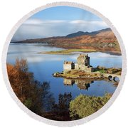 Round Beach Towel featuring the photograph Eilean Donan In Autumn - Dornie by Grant Glendinning