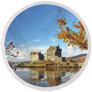 Round Beach Towel featuring the photograph Eilean Donan In Autumn by Grant Glendinning
