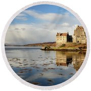 Round Beach Towel featuring the photograph Eilean Donan - Loch Duich Reflection - Dornie by Grant Glendinning