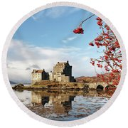 Round Beach Towel featuring the photograph Eilean Donan - Loch Duich Reflection - Skye by Grant Glendinning