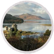 Round Beach Towel featuring the photograph Eilean Donan Panorama - Autumn by Grant Glendinning