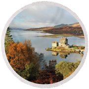 Eilean Donan Reflection In Autumn Round Beach Towel