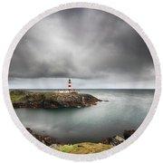 Eilean Glas Lighthouse, Scalpay Round Beach Towel
