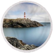 Eilean Glas Lighthouse Scotland Round Beach Towel