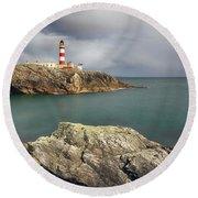 Eilean Glas Lighthouse, Western Isles. Round Beach Towel