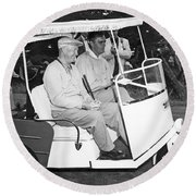 Eisenhower In A Golf Cart Round Beach Towel by Underwood Archives