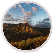 El Cajon Mountain Last Light Round Beach Towel