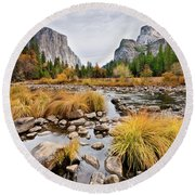 El Capitan And The Merced River In The Fall Round Beach Towel