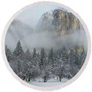 Round Beach Towel featuring the photograph El Capitan Majesty - Yosemite Np by Sandra Bronstein
