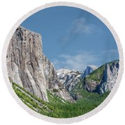 El Capitan, Three Brothers And Half Dome Round Beach Towel