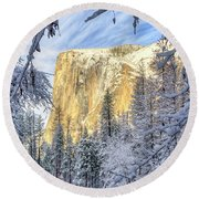 El Capitan Winter Majesty Yosemite National Park Round Beach Towel