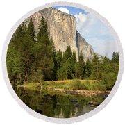 El Capitan Yosemite National Park California Round Beach Towel