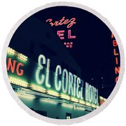 El Cortez Hotel At Night Round Beach Towel