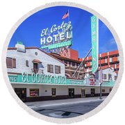 El Cortez Hotel On Fremont Street 2.5 To 1 Ratio Round Beach Towel