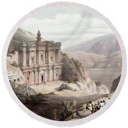 El Deir Petra 1839 Round Beach Towel by Munir Alawi