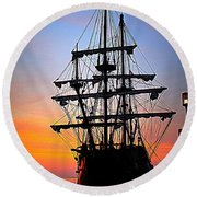 El Galeon At Sunrise Round Beach Towel