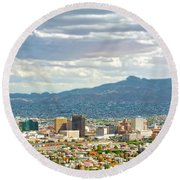 El Paso Texas Downtown View Round Beach Towel