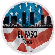 El Paso Tx American Flag Vertical Round Beach Towel