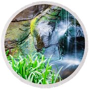 El Paso Zoo Waterfall Long Exposure Round Beach Towel