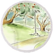 Round Beach Towel featuring the painting El Toro Park by Maria Langgle